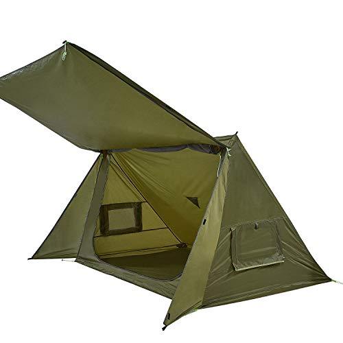 OneTigris Shelter Zelt Leichtes Wurfzelt Sonnensegel, 4 Jahreszeit Unterschlupf Tent mit Notfallmatte für Camping Wandern |MEHRWEG Verpackung (Armee Grün)