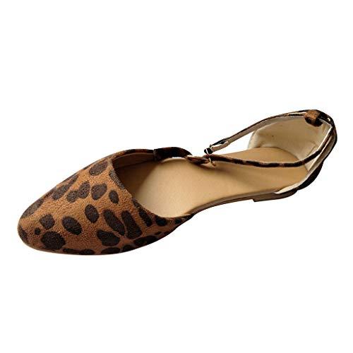 Rosennie Damen Sandalen Riemchenpumps Leopard Beach Schuhe Frauen Sommerschuhe Strandschuhe Pantoletten Flache Badesandale Sandalen Boho Flip Flop Zehentrenner Schuhe Einzelne Schuhe