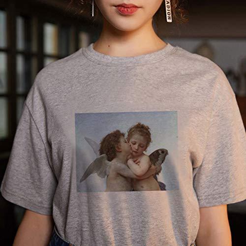 MichelangeloGraphic Tees Frauen Kurzarm Lässige KawaiiT Shirt Weibliche Engel Tops Shirt ()