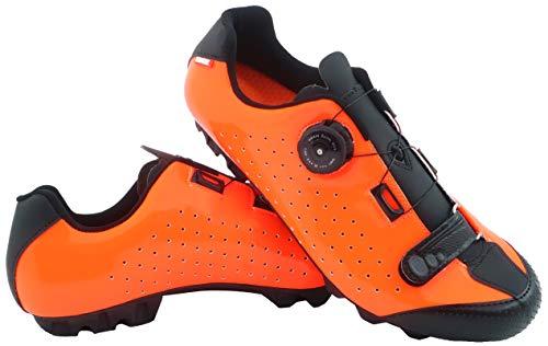 LUCK Fahrradschuhe ICCAR MTB-Fahrradschuh mit Carbon-Sohle und Präzisionsdrehsystem, begleitet von einem Klettverschluss. (48 EU, ORANGE)