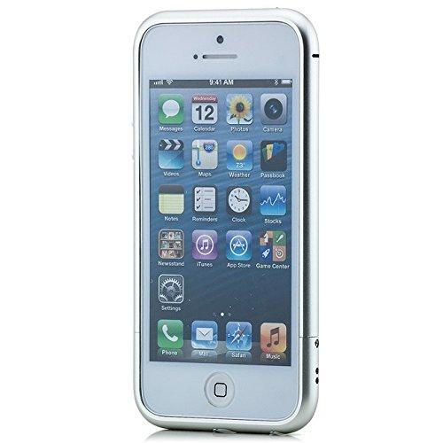 Saxonia Aluminium Bumper + 2x Panzerglas Apple iPhone SE 5 5S Slim Alu Case Schutz Hülle Rahmen Silber Silber + 2x Panzerglas