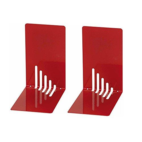 Wedo 1021002 Reggilibri in Metallo, Stretti, 14 x 8,5 x 14 cm, Rosso