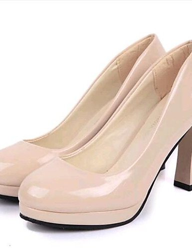 WSS 2016 Chaussures Femme-Soirée & Evénement-Noir / Beige-Gros Talon-Talons-Talons-Similicuir black-us6 / eu36 / uk4 / cn36