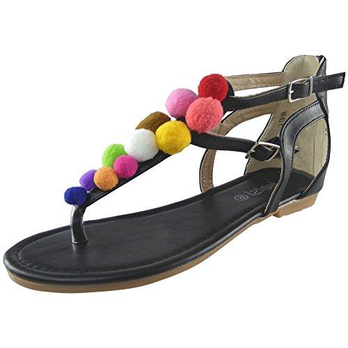 Nuovo Da donna T-Bar Pelliccia Pom Pom Toe-Post Scarpe Fibbia sandali Dimensione 36-41 Nero