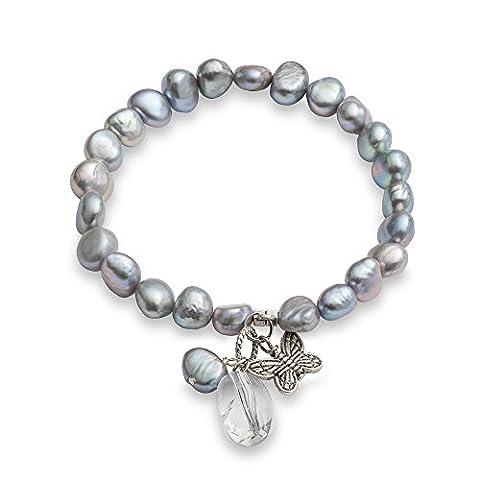 Perlen-Armband mit Süßwasser-Perlen und Kristall-Anhänger Schmetterling versilbert