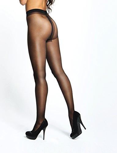 Miss O Ouvert Strumpfhose mit offenem Schritt 20den (XXL, Black)