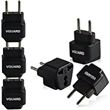 [3 Unidades] VGUARD Universal Adaptador de Enchufe UK US AU a UE Euro Europa Europeo Adaptador de Viaje Enchufe Plug – Negro