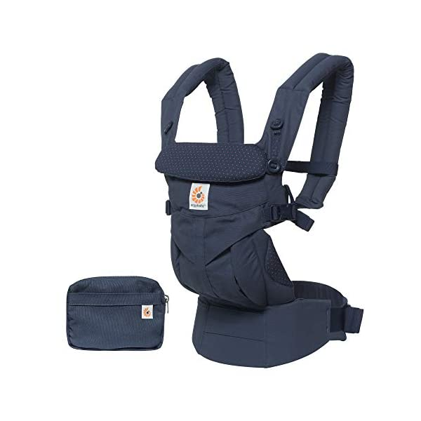 """ERGObaby Baby Carrier for Newborn to Toddler, 4-Position Omni 360 Navy Mini Dots, Ergonomic Child Carrier Backpack Ergobaby Baby carrier with 4 ergonomic wearing positions: parent facing, on the back, on the hip and on the front facing outwards. Supports hip-healthy """"m"""" shape position for baby's comfort and ergonomics. Adapts to baby's growth: Infant baby carrier newborn to toddler (7-33 lbs./ 3.2 to 20 kg), no infant insert needed. Tuck-away baby hood for sun protection (UPF 50+) and privacy. NEW - Maximum comfort for parent: Longwear comfort with lumbar support waistbelt and extra cushioned shoulder straps. 3"""