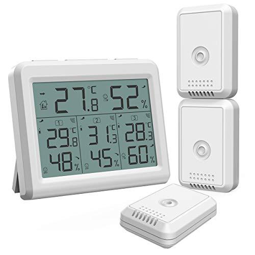 ORIA Termometro Igrometro Digitale per Interno Esterno, Misuratore di Temperatura e umidità con 3 Sensori Remoti, Stazione Meteo Wireless con Retroilluminazione, Icona Comfort, Indicatore di Tendenza