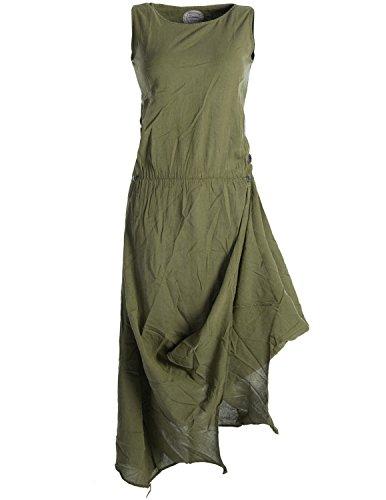 Vishes - Alternative Bekleidung - Ärmelloses Lagenlook Kleid aus Baumwolle zum Hochbinden Olive 46 (Grün Kleid Elfen)