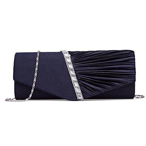 BAIGIO Satin Diamante Ladies Pleated Bow Wedding Bridal Prom Handbag Clutch Bag (Navy)
