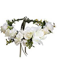 AWAYTR Women Girls Boho Flower Wreath Headband Floral Crown Garland
