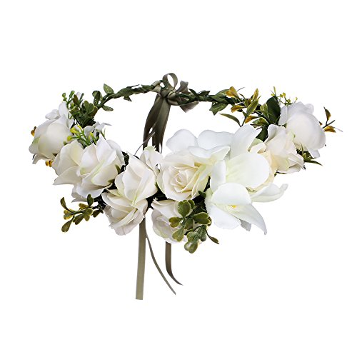 AWAYTR Blumen Stirnband Hochzeit Haarkranz Krone - Frauen Mädchen Blumenkranz Haare für Hochzeit Party(Elfenbein)