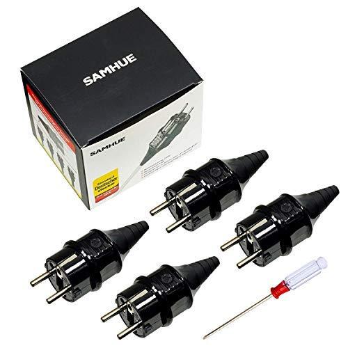 Schutzkontakt-Stecker mit Knickschutztülle, IP44 Schutzklasse, spritzwassergeschützt, und langlebig Kann für 6-16mm Kabel, Schutzkontakt Stecker aus SEBS, bruchfest, schwarz,SAMHUE, 4er-Pack -