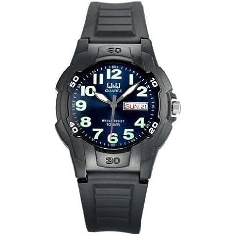 Reloj Q&Q Analogico caballero Sumergible 100M Correa poliuretano Negro A128J003