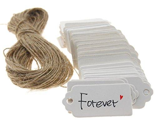 Preisvergleich Produktbild 100Stk Weiß Anhänger Etiketten Gift Tags 4 x 2CM Geschenkanhänger
