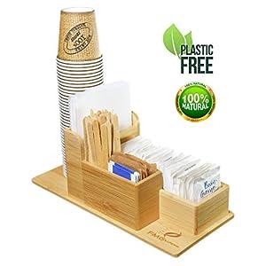 FMC SOLUTION Porta Accessori da caffè e Tea in bambù per Zucchero in Bustine, Palette, Bicchieri e Tovagliolini di Carta…