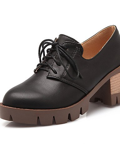 WSS 2016 Chaussures Femme-Bureau & Travail / Habillé / Décontracté-Noir / Gris / Beige-Gros Talon-Talons / Bout Arrondi-Talons-Similicuir beige-us7.5 / eu38 / uk5.5 / cn38