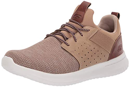 Skechers Herren 65474 Sneaker, Braun (Light Brown), 39.5 EU Low Heel Stretch-heels