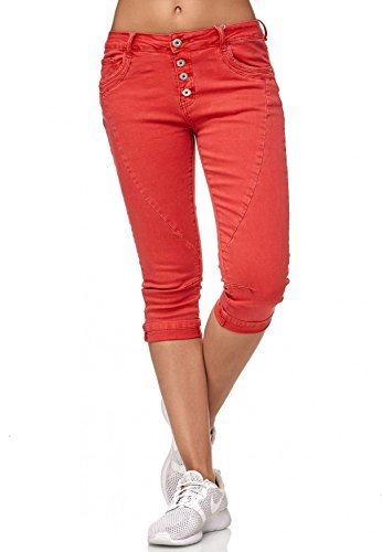 ArizonaShopping - Hosen My Christy Damen Capri Jeans 3/4 Boyfriend Chino Hose Stretch Shorts D2344,Rot,40/L