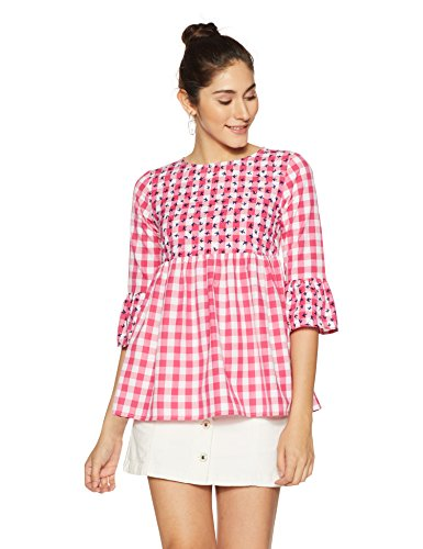 Styleville.in Women's Check Flared top (STSF401610-Pink-XXL)