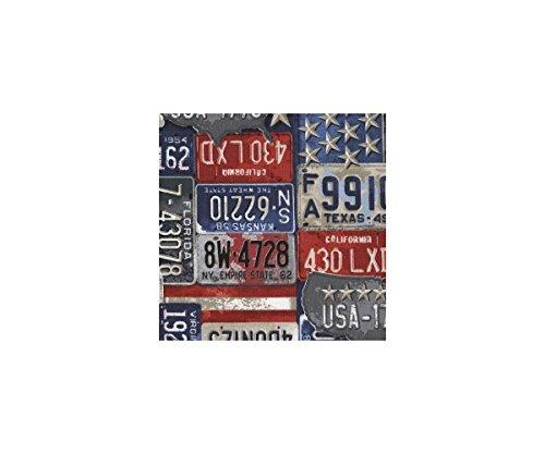 Stoff mit roten blauen grauen Nummernschildern von Timeless Treasures