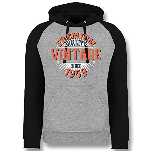 Shirtracer Geburtstag - 60. Geburtstag Vintage 1959 - XL - Grau meliert/Schwarz - JH009 - Baseball Hoodie
