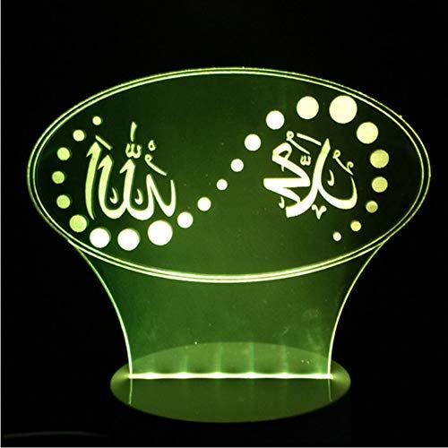3D Weihnachtsgeschenk 7 Farbwechsel Stimmung Led Islam Lampe Gott Allah segnen Koran Arabisch Modellierung Schreibtisch Usb Nachtlicht Kind Schlaf Beleuchtung
