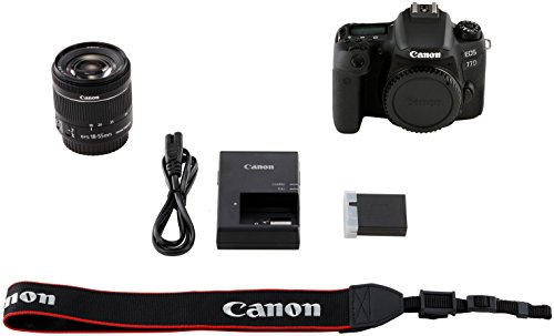 Canon EOS 77D - Cámara réflex de 24.2 MP (vídeo Full HD, WiFi, Bluetooth) negro - kit cuerpo con objetivo EF-S 18-55 IS STM (Producto europeo)