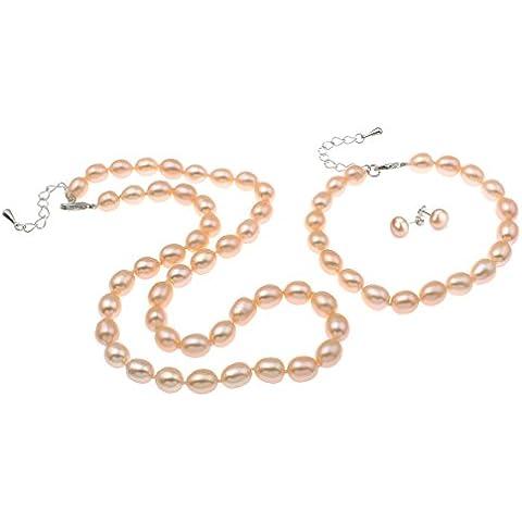 FAB elegante riso da 7-8 mm, con perla d'acqua dolce, a forma di collana, braccialetto, orecchini 3, spediti in una lussuosa