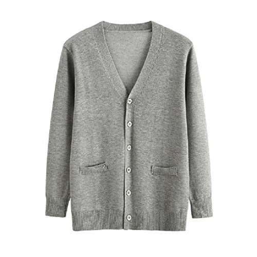 CuteRose Mens Loose Jacket Coat Long Sleeve Knit Uniforms Pullover Sweater Grey S