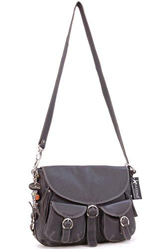 Große Überschlagtasche aus Leder von Catwalk Collection - GRÖßE: B: 33,5 H: 26,5 T: 10 cm Braun