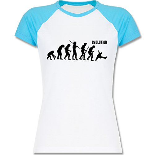 Evolution - Breakdance Evolution - zweifarbiges Baseballshirt / Raglan T-Shirt für Damen Weiß/Türkis