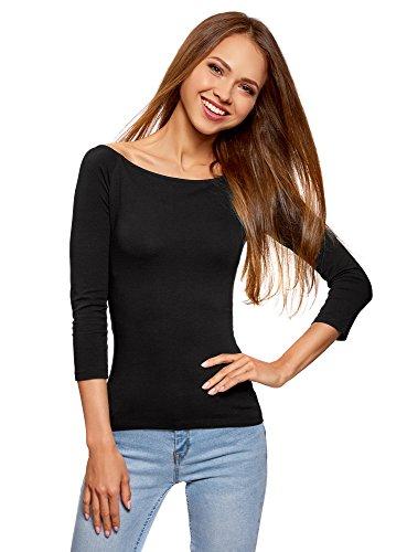 oodji Ultra Damen Tagless Schulterfreies T-Shirt mit 3/4-Arm, Schwarz, DE 38/EU 40/M (T-shirt Schulterfreies)