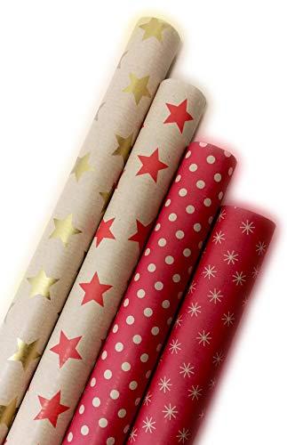 Premium Retro Geschenkpapier aus Recycling-Papier - Hochwertige Geschenkverpackung für Geburtstage, Ostern oder Weihnachten - 4 Rollen