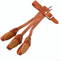 Caza con arco cuero suave 3 Tab Protector de guante dedo para flecha arco jales
