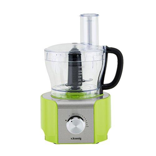 H.Koenig MX18 Robot da Cucina Multifunzione, 8 funzioni, Recipiente graduato in vetro, 800W, Verde