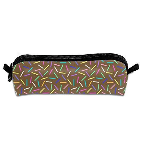 Chocolate Donut Sprinkles Pencil Case Zipper Canvas Pen Pouch Bag for Girls Kids Teens Women 8.26 X 2.16 X 1.96 inch
