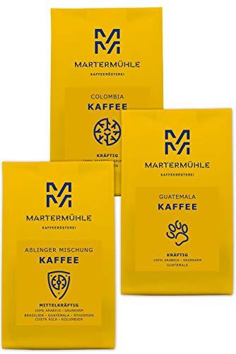 Kaffee Probierset 3x250g - Premium Kaffee Von Der Kaffeerösterei Martermühle: Kaffeebohnen Arabica Aus Aller Welt (Kolumbien, Guatemala, Aßlinger Mischung). Ganze Kaffeebohnen - Von Hand Geröstete Bohnen: Kaffeebohnen Säurearm Und Mild.