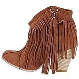 YE Damen Cowboy Western Stiefel Blockabsatz Stiefeletten High Heels Ankle Boots Fransen Schlupfstiefel Elegant Winter 8cm Absatz Schuhe(Braun,36)