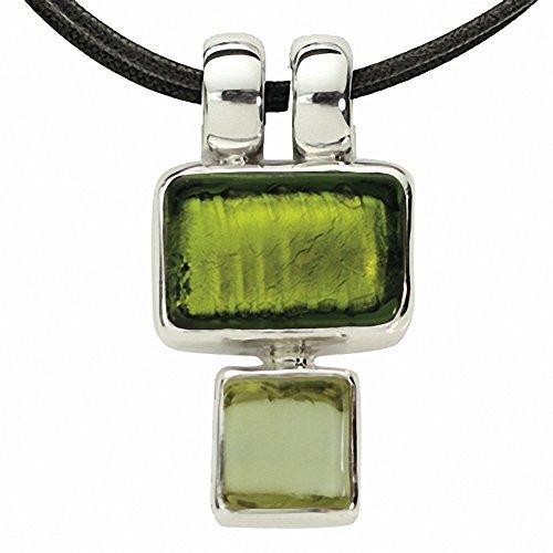 Gabriella Nanni, collier en coton ciré avec pendentif en argent 925et verre de Murano-minicollana Verde Erba