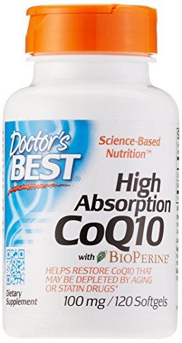 Doctor's Best, High Absorption CoQ10 mit BioPerine, 100mg, 120 Weichkapseln - Bioverfügbares und fermentiertes Coenzym Q10, Gentechnikfrei (GMO-frei)
