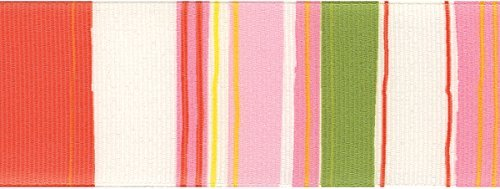 Offray Retro Stripe Craft Ribbon, 1 1/2-Inch x 9-Feet, Pink & Green by Offray