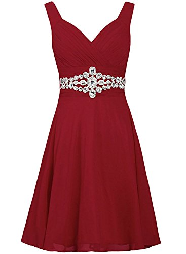 Azbro Women's V Neck Sleeveless Rhinestone Bridesmaid Dress Dark Red