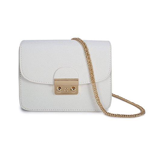 Kleine Umhängetasche Schultertasche Schulterkette Elegant Handtasche Vintage Tasche Kette Band Retro Citytasche - Weiß (Tasche Weiß-handtasche)