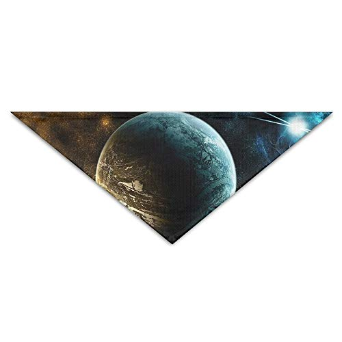 Pet Triangle Bandana Blue and Golden Planet Art Washable Dog Puppy Scarf Bib Babys Neckerchief Accessories