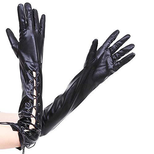 Ywlanlantrading Handschuh Womens Metallic Wet Look Leder Lange Handschuhe Elbow Lace Up Steampunk Kostüm Armwärmer (Color : Black) -