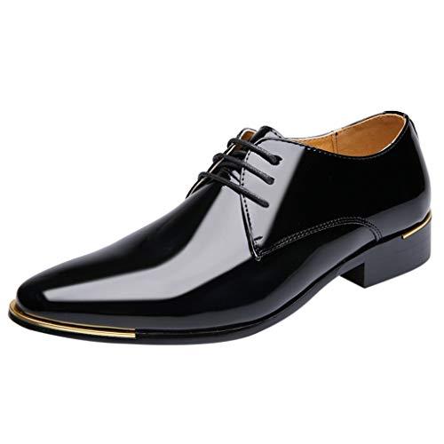 Geschäft Lackleder Spitz Lederschuhe Formelle Kleidung Berufsschuhe Schnürsenkel Freizeit Business-Schuhe Kleid Schuhe Schwarz 39 EU ()