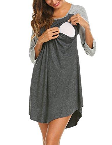UNibelle Umstandsnachthemd Stillnachthemd 3/4 Ärmel Nachthemden für Schwangere und Stillzeit S-XXL