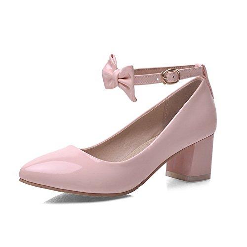 AllhqFashion Femme Pointu à Talon Correct Boucle Couleur Unie Chaussures Légeres Rose